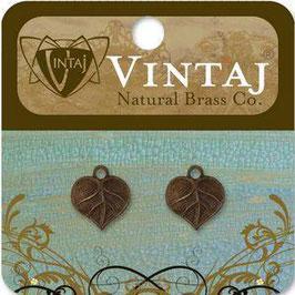 Vintaj Natural Brass Teensie Nouveau Leaf