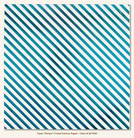 MME Necessities Teals Stripe Foiled Vellum Paper