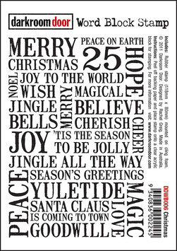 Darkroom Door Cling Foam Mounted Word Block Stamp: Christmas