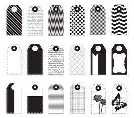 Donna Downey Mini Tags - Black & White