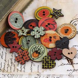 Prima Wood Buttons - Doodle Deux