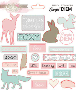 Glitz Design Carpe Diem Puffy Stickers