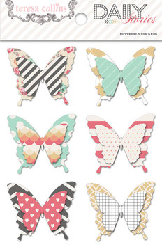Teresa Collins Daily Stories Layered Butterfly Stickers