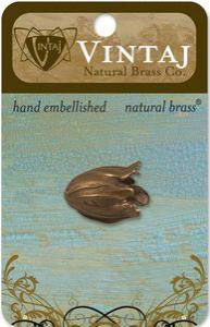 Vintaj Natural Brass Flourish Petal Bead Cap (bc170r)