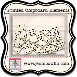 Jenni Bowlin Printed Chipboard Elements - Dominoes