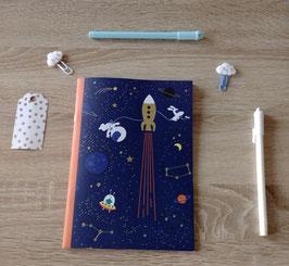 Cahier Fusée - fond bleu nuit A5