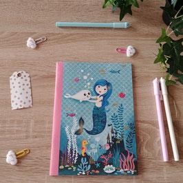 Cahier A5 sirène et phoque - bleu et rose