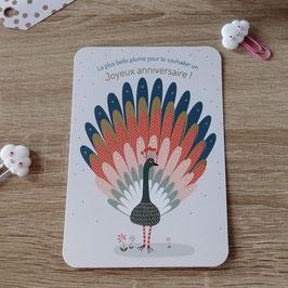 Carte postale la plus belle plume pour te souhaiter un joyeux anniversaire !