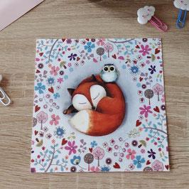 Carte postale renard et hibou