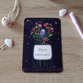 Carte postale joyeux anniversaire - bouquet de fleurs