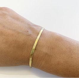 Pulsera cordón plano dorada