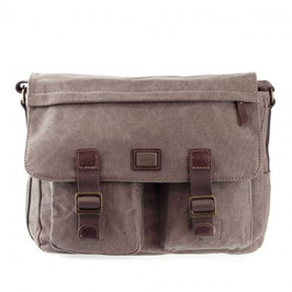 TRP0271 TROOP LONDON HERITAGE SMALL CANVAS MESSENGER BAG, BROWN