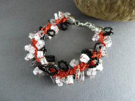 HA05 Häkelarmband-Set Rot/Schwarz/Weiß