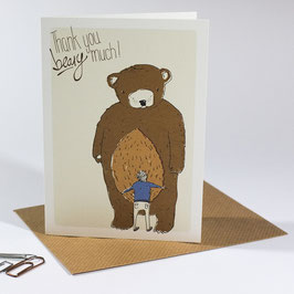 Thank you beary much - eco postcard / salute card