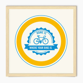 Home is where your bike is - screen print - yellow