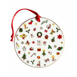 12-6-26-G MERRY CHRISTMAS Decorazione Cerchio - Round Shaped Decoration