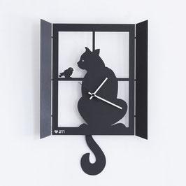 """Orologio """"Gatto alla Finestra"""" pendolo nero Arti e Mestieri"""