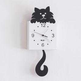 """Orologio """"Gatto"""" pendolo nero Arti e Mestieri"""