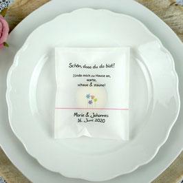 Licht-Botschaft zur Hochzeit, Design Blumenwiese