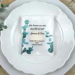 Licht-Botschaft zur Hochzeit, Design Eukalyptus