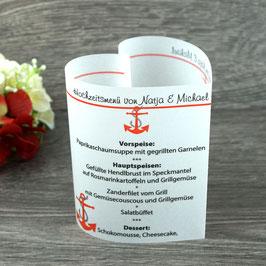 Menükarte Herzform Design Anker
