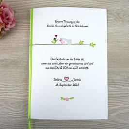 Kirchenheft - Design Hochzeitsvögel auf Ast