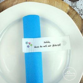 Serviettenring zur Kommunion/Konfirmation, Design Blumenwiese - 1 Stück