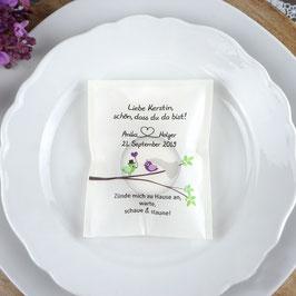 Licht-Botschaft zur Hochzeit, Design Hochzeitsvögel auf verzweigtem Ast