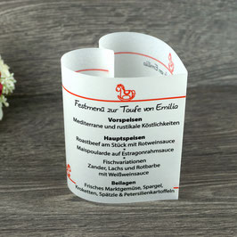 Menükarte Herzform Design Schaukelpferd ♥ Taufe