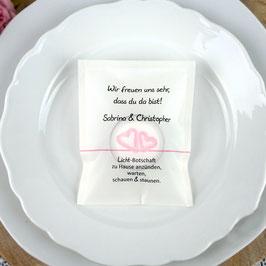 Licht-Botschaft zur Hochzeit, Design Aquarellherzen