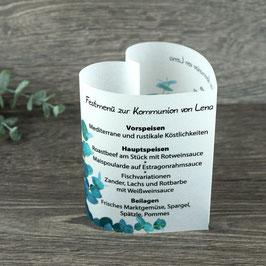 Menükarte Herzform für die Kommunion/Konfirmation, Design Eukalyptus