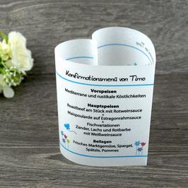 Menükarte Herzform für die Kommunion/Konfirmation, Design Blumenwiese