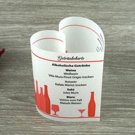 Getränkekarte Herzform
