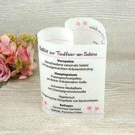 Menükarte Herzform Design Blümchen ♥ Taufe