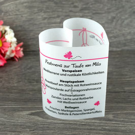 Menükarte Herzform Design Schmetterlinge ♥ Taufe