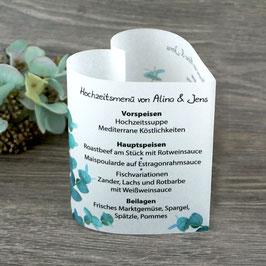 Menükarte Herzform - Design Eukalyptus