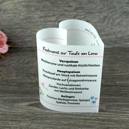 Menükarte Herzform Design Blumenwiese ♥ Taufe
