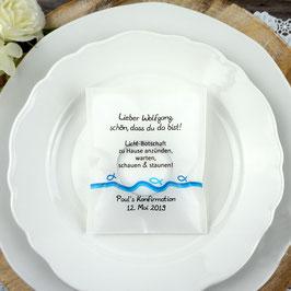 Licht-Botschaft zur Kommunion/Konfirmation, Design Fisch Silhouette
