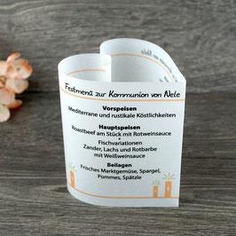 Menükarte Herzform für die Kommunion/Konfirmation, Design Kerzen