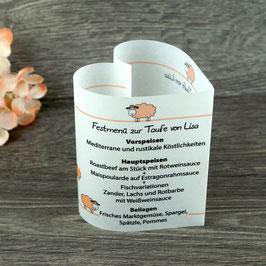 Menükarte Herzform Design Schaf ♥ Taufe