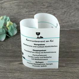 Menükarte Herzform für die Kommunion/Konfirmation, Design Kelch & Brot