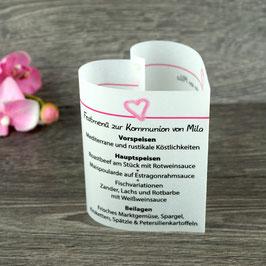 Menükarte Herzform für die Kommunion/Konfirmation, Design Aquarellherz