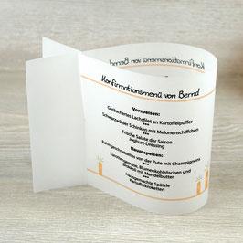 Menükarte Fischform für die Kommunion/Konfirmation, Design Kerzen