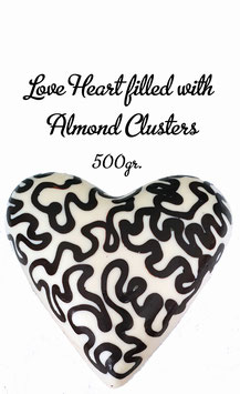 Surprise a Friend - Love heart, XL, white, filled with Aldmond Clusters