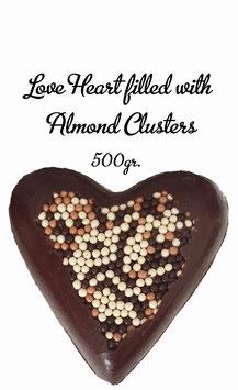 Surprise a friend - Love heart 54% dark, XL,  filled with Aldmond Clusters