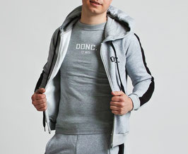 Grey Black Men's Stripe Hoodie