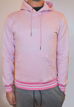 Pink  Men's Double Stripe Hoodie