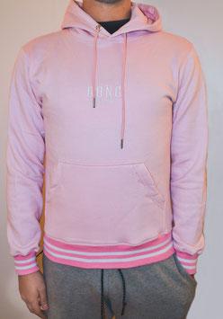 Pink  Men's Double Stripe Hoodie