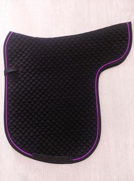 Satteldecke schwarz mit lila Kordel