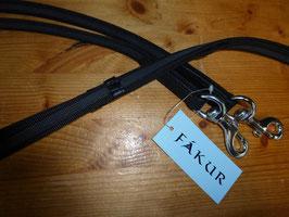 Fákur Dünne Gurtzügel schwarz mit Gummifäden, mit Stegen und silber Karabiner o. braun mit Messing